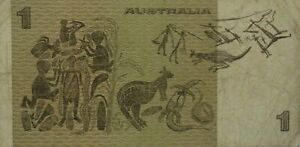 AUSTRALIAN ABOUT FINE 1979 $1 KNIGHT STONE PAPER BANKNOTE ISSUE R77