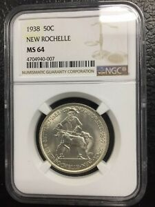 1938 NEW ROCHELLE 50C SILVER COMMEMORATIVE   NGC MS64   HALF DOLLAR   FREE SHIP