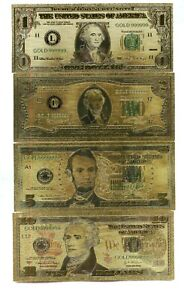 8PC .999 GOLD NOTE SET $1 $100 DENOMINATIONS WITH ENVELOP