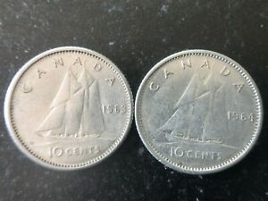 LOT: SEQUENCE OF TWO CANADA 10 CENT SILVER COINS 1963 & 1964