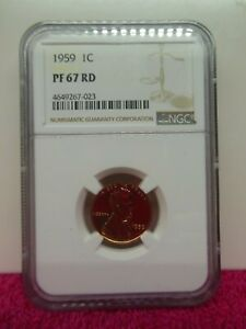 1959 LINCOLN CENT NGC PR 67RD   NICE BRIGHT RED PROOF  FREE US SHIPPING