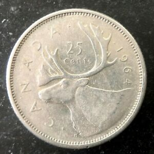 CANADA 1964 25 CENTS SILVER QUARTER DOLLAR COIN