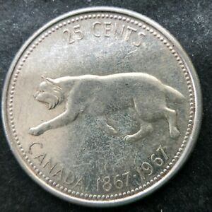 1967 CANADA SILVER 25 CENTS QUARTER DOLLAR