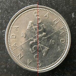 1973 COMMEMORATIVE CANADA 25 CENTS QUARTER OFF CENTER DIE STRIKE MINT ERROR