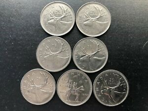 LOT OF 7 CANADA NICKEL 25 CENTS COMPLETE 1968 74 SEQUENCE 5