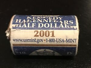 Click now to see the BUY IT NOW Price! ROLL OF TWENTY  20  BRILLIANT UNCIRCULATED 2001 D KENNEDY HALF DOLLAR COINS