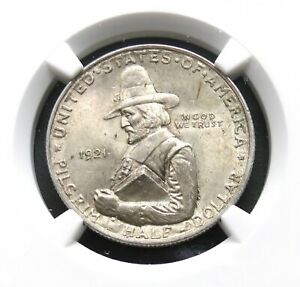 1921 PILGRIM SILVER COMMEMORATIVE HALF DOLLAR NGC MS64 GRADED ORIGINAL COIN