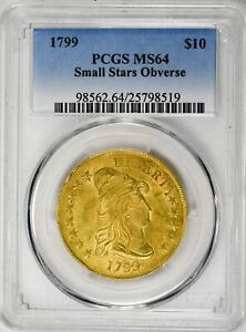Click now to see the BUY IT NOW Price! 1799 $10 SMALL STARS OBVERSE DRAPED BUST TYPE 2 HERALDIC EAGLE PCGS MS64 GOLD