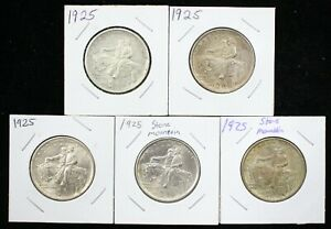 Click now to see the BUY IT NOW Price! LOT OF 5 1925 STONE MOUNTAIN SILVER COMMEM. HALF DOLLARS   06184