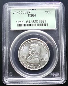 1925 VANCOUVER COMMEMORATIVE SILVER HALF DOLLAR PCGS OGH OLD GREEN HOLDER MS64