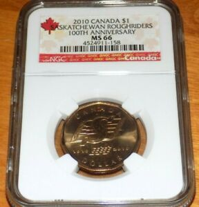 Click now to see the BUY IT NOW Price! CANADA 2010 $1 NGC MS66 SASKATCHEWAN ROUGHRIDERS 100 ANNIVERSARY GRADED COIN