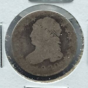 1820 P CAPPED BUST SILVER DIME COIN LG 0 AG ABOUT GOOD   10  ROTATED DIE ERROR