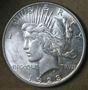 $1 1923 S PEACE SILVER DOLLAR CHOICE AU    AVENUECOIN