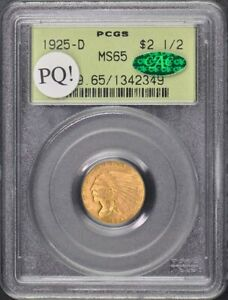Click now to see the BUY IT NOW Price! 1925 D $2.50 INDIAN HEAD PCGS MS65 CAC OGH PQ