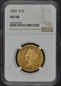 Click now to see the BUY IT NOW Price! 1862 EAGLE   NO MOTTO $10 NGC AU58