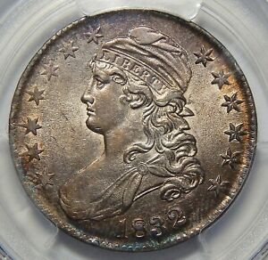1832 PCGS AU55 SMALL LETTERS CAPPED BUST HALF DOLLAR