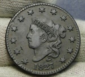 1827 PENNY CORONET LARGE CENT   N 7 R3 NICE COIN    8453