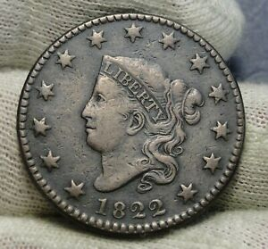1822 PENNY CORONET LARGE CENT   NICE COIN    8452