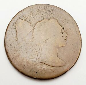 1795 UNITED STATES LIBERTY CAP FLOWING HAIR LARGE CENT 1C COLONIAL COPPER COIN