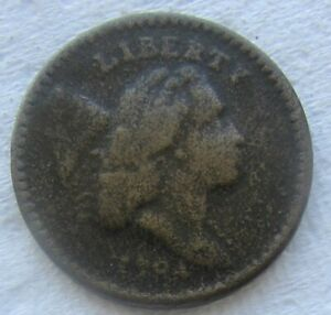 1794 1/2C LIBERTY CAP HALF CENT FULL DATE VG DETAILS POROSITY