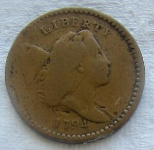 1794 1/2C LIBERTY CAP HALF CENT FINE DETAIL BOLD DATE REVERSE ISSUES SEE PHOTOS