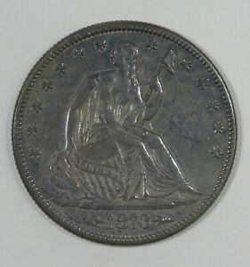 1873 LIBERTY SEATED HALF DOLLAR WITH ARROWS AT DATE ALMOST UNC SILVER 50C