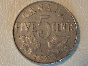 CANADA 1923 FIVE CENTS COIN