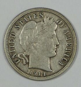 1914 BARBER DIME EXTRA FINE SILVER 10 CENTS
