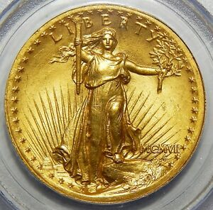 1907 PCGS MS64 HIGH RELIEF WIRE EDGE $20 ST. GAUDENS
