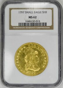 Click now to see the BUY IT NOW Price! 1797 $10 SMALL EAGLE DRAPED BUST NGC MS62 ORIGINAL  GOLD COIN EAGLE