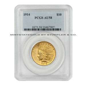 1914 $10 INDIAN HEAD GOLD EAGLE PCGS AU58 ABOUT UNCIRCULATED PHILADELPHIA COIN
