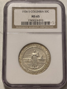 1936 S COLUMBIA SILVER HALF DOLLAR   50 CENTS   NGC MS65