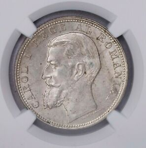 Click now to see the BUY IT NOW Price! NGC MS63 1900 ROMANIA 2LEI SILVER ONLY TWO FINER KEY DATE BU LUSTER
