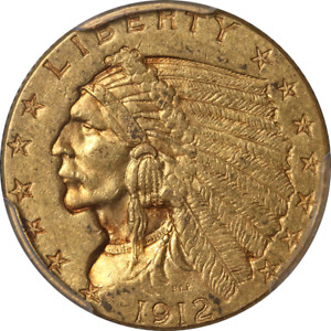 1912 INDIAN GOLD $2.50 PCGS MS61 DECENT EYE APPEAL NICE STRIKE