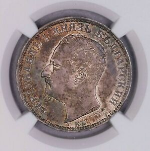 Click now to see the BUY IT NOW Price! NGC MS62 1891KB BULGARIA 2LEV  SILVER TONED  TYPE