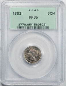 1883 3CN THREE CENT NICKEL PCGS PR 65 PROOF WITH DIE CRACKS? HIGH END OGH OLD