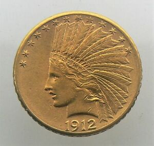 1912 S $10 GOLD COIN INDIAN HEAD EAGLE