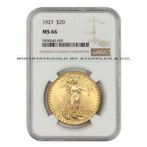 1927 $20 GOLD SAINT GAUDENS NGC MS66 MINT GEM GRADE DOUBLE EAGLE COIN