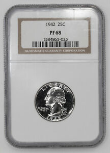 Click now to see the BUY IT NOW Price! 1942 PROOF WASHINGTON QUARTER 25C NGC CERTIFIED PF 68   WHITE   025