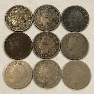 9 EARLY LIBERTY V NICKELS 1887 1888 1889 1890 1891 1892 1893 1895 1896 Q5