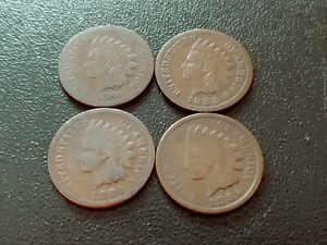 NICE LOT OF 4 INDIAN HEAD CENTS  1880 1886