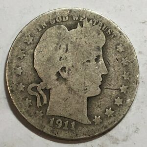 1911 D BARBER SILVER US QUARTER DOLLAR. AG Q3