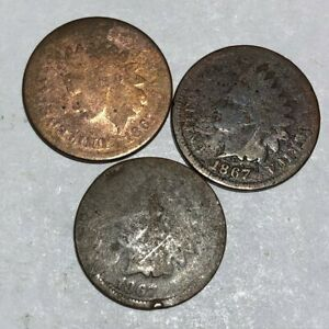 THREE 1867 INDIAN HEAD CENTS LOW GRADE. GENUINE WITH PROBLEMS. LOTUL