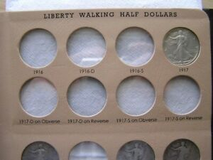 INCOMPLETE COLLECTION 1916 TO 1947 D WALKING LIBERTY HALF DOLLARS