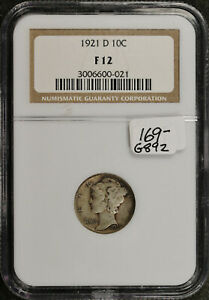 1921 D MERCURY DIME.  IN NGC HOLDER.  F12.   G892