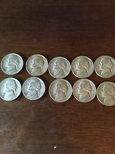 LOT OF 10 1943 P SILVER NICKELS WITH IMPROPER ALLOY ERROR  WOODY NICKELS