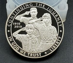 2010 BOY SCOUTS OF AMERICA CENTENNIAL PROOF SILVER ONE DOLLAR COIN RAW