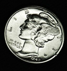 1942 D MERCURY DIME.   100  FULLY SEPARATED HORIZONTAL BANDS.   BU  INV.A