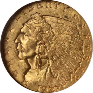 1927 INDIAN GOLD $2.50 NGC MS63 NICE EYE APPEAL NICE LUSTER STRONG STRIKE