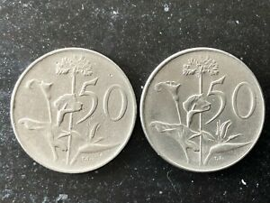 TWO SOUTH AFRICA 50 CENTS NICKEL COINS 1966 & 1977 IN